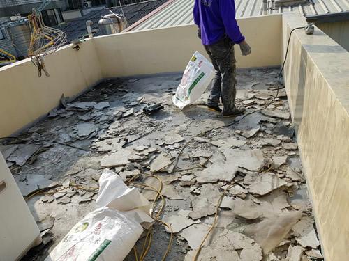 屏東頂樓地板防水漆處理-高壓灌注